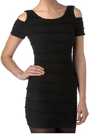 Cut Out Shoulder Rib Body Con Dress