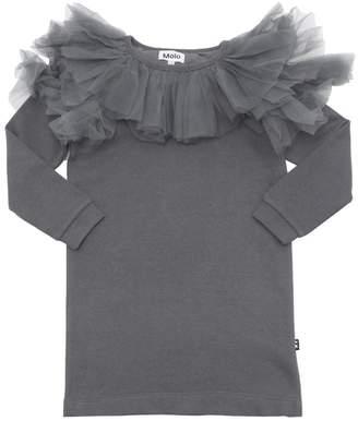 Molo Cotton Sweatshirt Dress W/ Tulle Ruffle