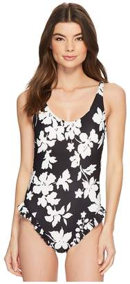 MICHAEL Michael Kors Floral Vine One-Piece Swimsuit w/ High Leg Ruffles Removable Soft Cups Women's Swimsuits One Piece