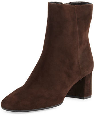 Prada Suede Square-Toe 55mm Ankle Boot $795 thestylecure.com
