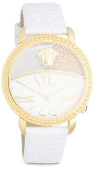 Versace Polished Leather-Strap Watch