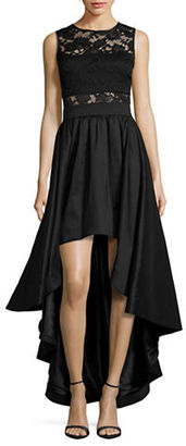 Betsy & Adam Lace-Trimmed Hi-Lo Gown $349 thestylecure.com