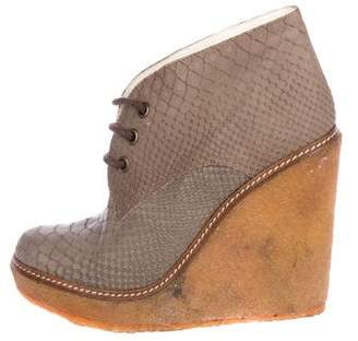 Jean-Michel Cazabat Embossed Wedge Ankle Boots