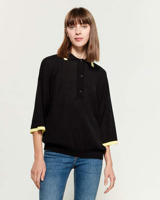Hache Three-Quarter Sleeve Collared Sweater