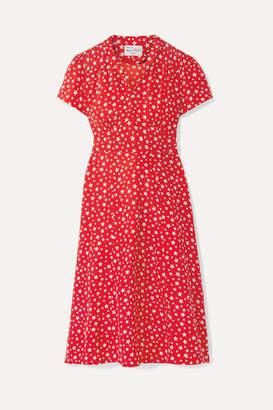 Morgan HVN Printed Silk Crepe De Chine Dress - Red