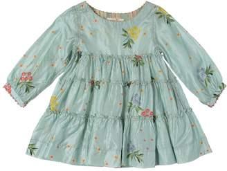Floral Print Silk Satin Dress