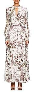 Valentino Women's Abstract-Print Crepe Maxi Dress - White Multi