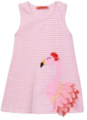 Funkyberry Striped Flamingo Dress (Toddler Girls)