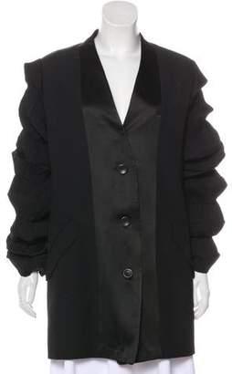 Issey Miyake Ruffle-Trimmed Longline blazer