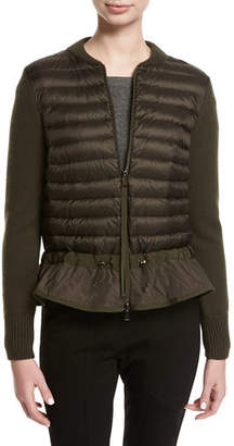 at Neiman Marcus · Moncler Maglia Knit Puffer Combo Jacket w/ Peplum Hem