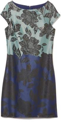 Vince Camuto Floral Jacquard Colorblock Dress