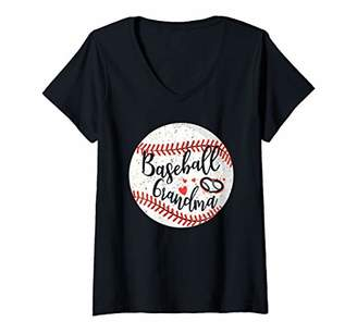 Womens Proud Baseball Grandma Shirt For Womens Love Baseball Gifts V-Neck T-Shirt