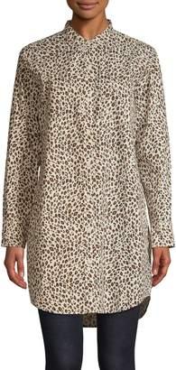 Current/Elliott Current Elliott Leopard-Print Cotton Shift Shirtdress