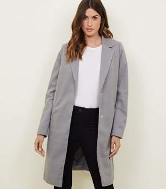 New Look Tall Grey Revere Collar Longline Coat