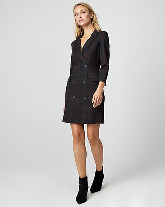 Le Château Check Print Ponte Knit Blazer Dress