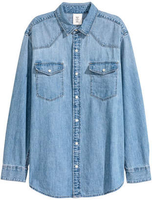 H&M Oversized Denim Shirt - Blue