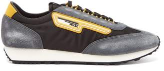 Prada Milano Low Top Nylon And Suede Trainers - Mens - Black