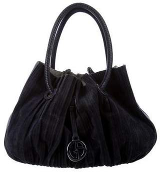 Giorgio Armani Pleated Suede Shoulder Bag