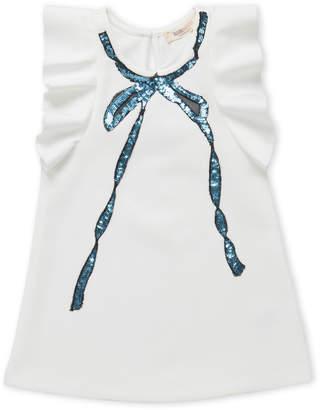 Baby Sara Toddler Girls) Sequin Bow Flutter Scuba Dress