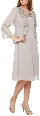 MAYA BROOKE Maya Brooke 3/4 Sleeve Embroidered Jacket Dress