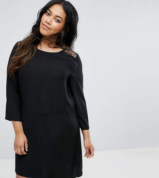 Yumi Plus Swing Dress With Lace Insert And Flare Sleeves