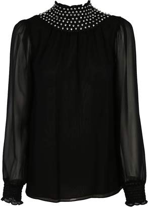 Michael Kors Diamond Embellished Chiffon Blouse