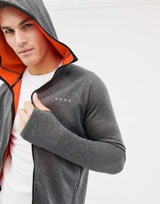 Asos 4505 hoodie with full zip in bonded tech inner fleece and thumbholes