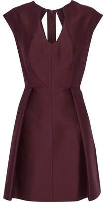 Halston Pleated Cotton And Silk-Blend Faille Mini Dress