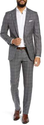BOSS Novan/Ben Trim Fit Windowpane Wool Suit