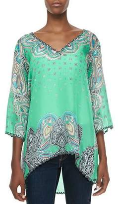 Johnny Was 3/4-Sleeve Printed V-Neck Tunic $195 thestylecure.com