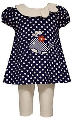 Bonnie Jean Little Girls Polka Dot Whale Applique Nautical Dress/Legging Set,