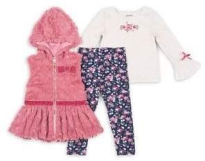 Little Lass Baby Girl's Three-Piece Sequin Faux Fur Vest Set