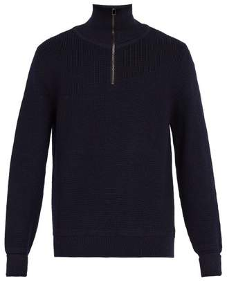 Privee Salle Salle Rikard Half Zip Wool Sweater - Mens - Dark Blue