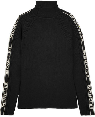 Moncler - Intarsia Wool Turtleneck Sweater - Black $605 thestylecure.com