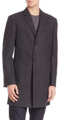 Saks Fifth Avenue Plaid Wool Coat