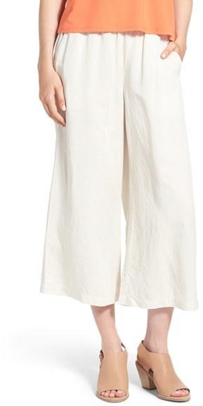 Eileen Fisher Wide Leg Crop Tencel ® & Linen Pants