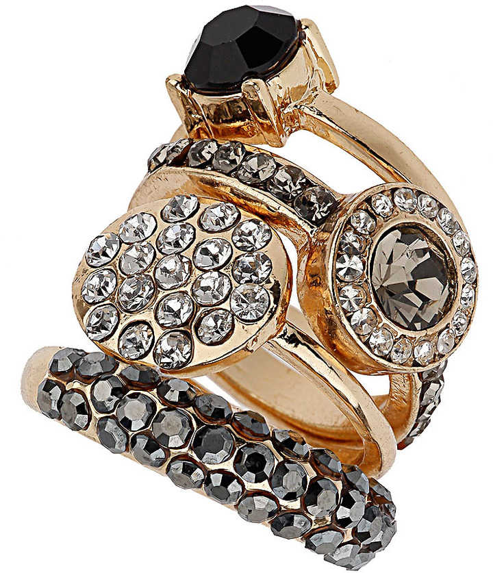 Wallis Statement Crystal Ring Stack