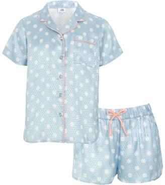 River Island Girls blue polka dot pyjama shirt set