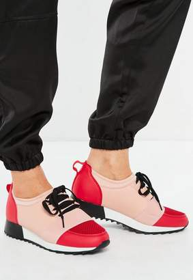 Missguided Pink Front Strap Lace Up Runner Sneakers