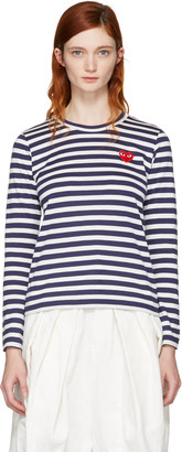 Comme des Garçons Play Navy Long Sleeve Striped Heart Patch T-Shirt $140 thestylecure.com