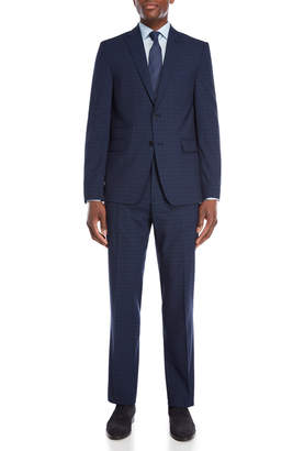 Vince Camuto Two-Piece Blue Modern Fit Double Windowpane Suit