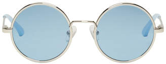 Dries Van Noten Silver and Blue Linda Farrow Edition 155 C5 Sunglassass