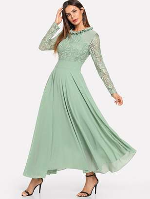24a6e2cd1a Shein Frill Neck Lace Top Flowy Maxi Dress