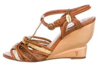 Frye Leather Braided Wedges