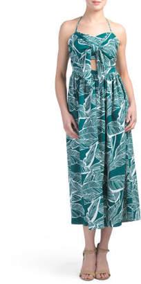 Tropical Print Tie Front Midi Dress