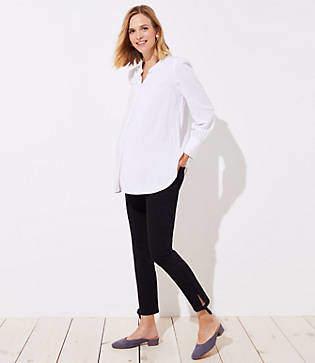 LOFT Maternity Tie Cuff Skinny Crop Jeans in Black