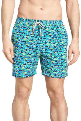 Psycho Bunny Wave Print Swim Trunks