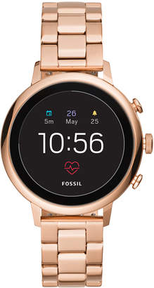 Fossil New Q Women's Gen 4 Venture Hr Rose Gold-Tone Stainless Steel Bracelet Touchscreen Smart Watch 40mm