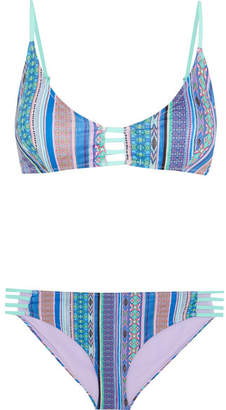 Matthew Williamson Saya Cutout Printed Bikini - Blue