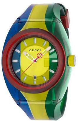 Gucci 46mm Sync Sport Watch w/ Rubber Strap, Blue/Yellow